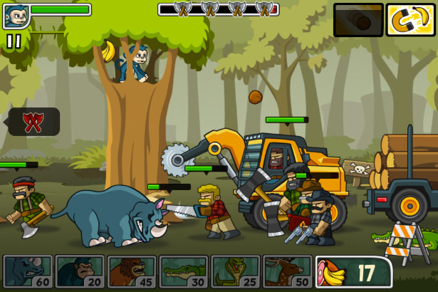 Preview for side-scrolling defense game Lumberwhack.