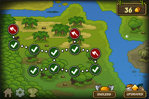 Level map - Side-scrolling defense game for iPhone, game for iPad, game apps for Android
